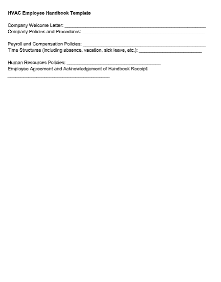 HVAC Employee Handbook Template