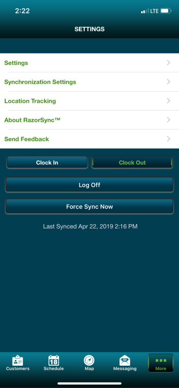 Settings on RazorSync