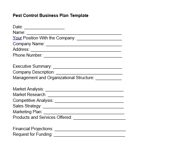 pest control business plan template