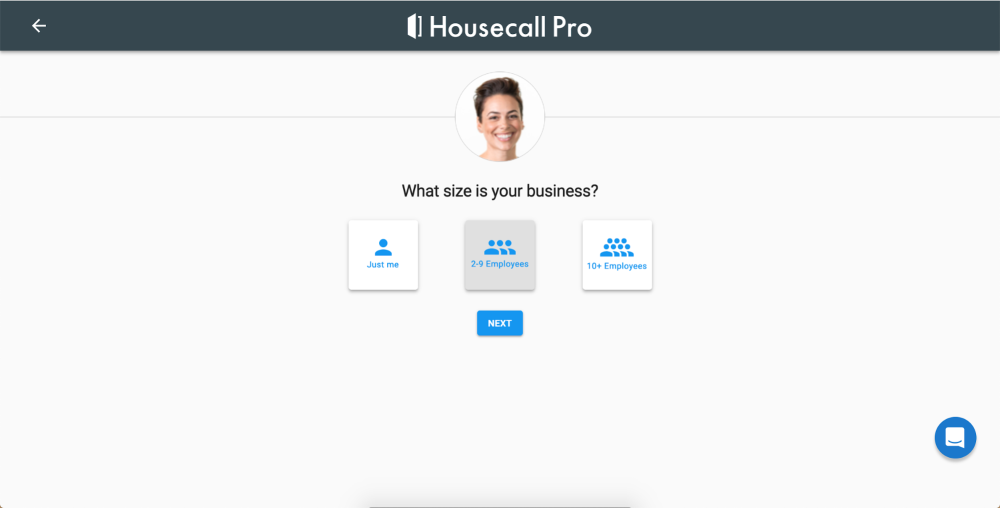 Pick your business size on Housecall Pro