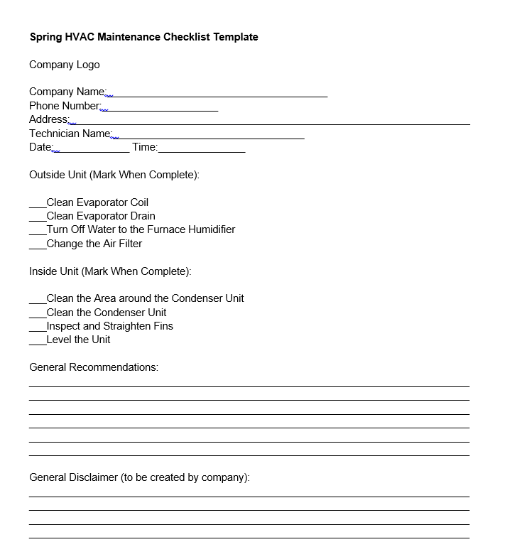 spring hvac maintenance checklist