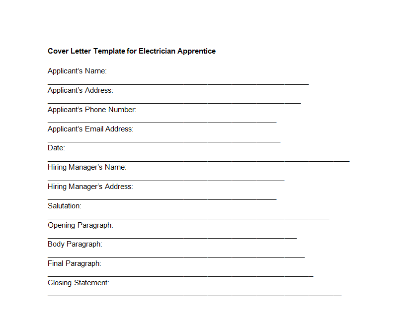 Cover Letter Template for Electrician Apprentice