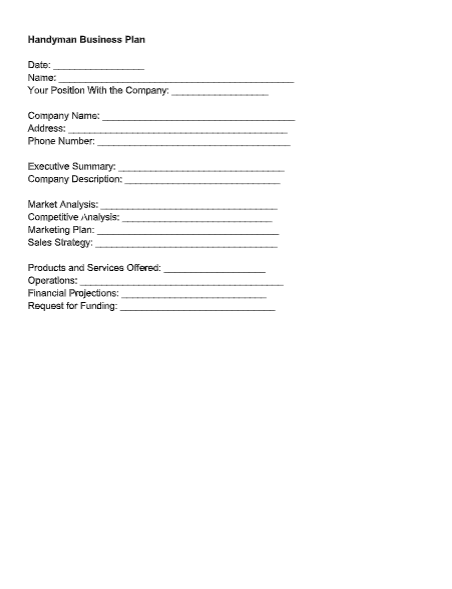 Handyman Business Plan Template