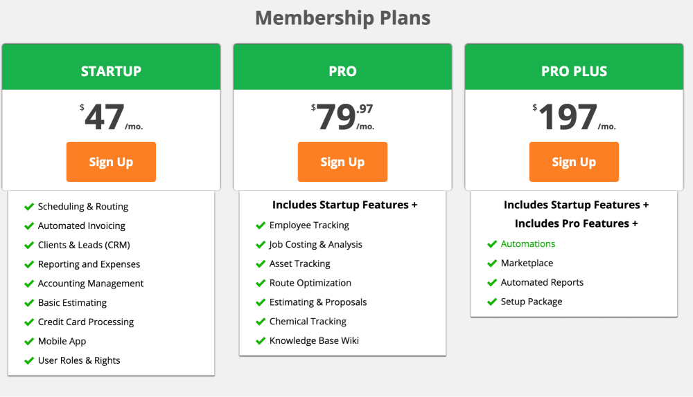 Pricing plans on Service Autopilot