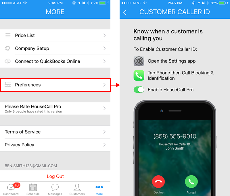 Screenshot of the customer caller ID Housecall Pro settings page on an iPhone