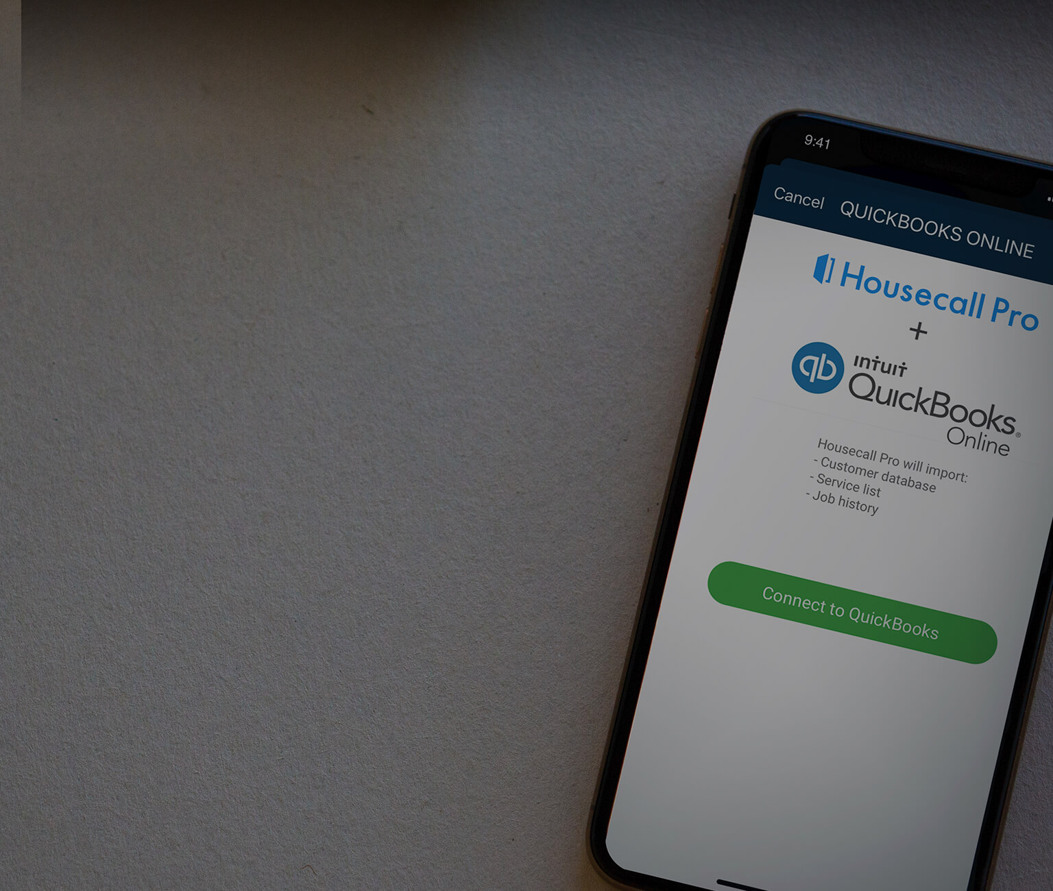 Housecall Pro's software for quickbooks on an iPhone 11