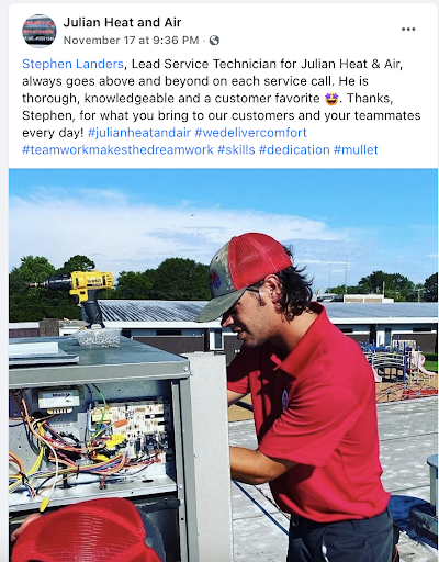 HVAC tech featured in a company Facebook post.