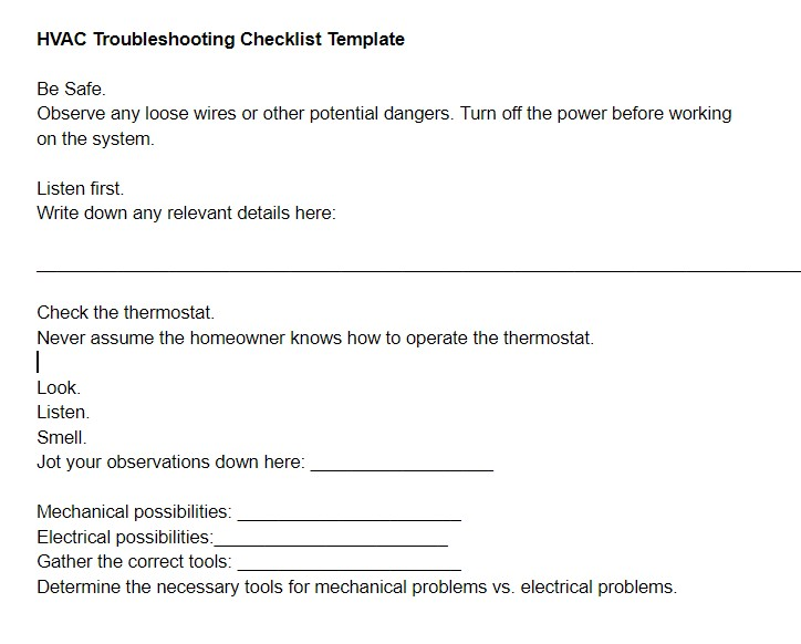 HVAC Troubleshooting Checklist Template
