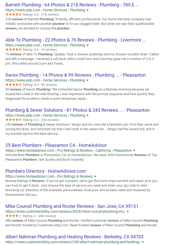 Google Plumbing Reviews Search Results