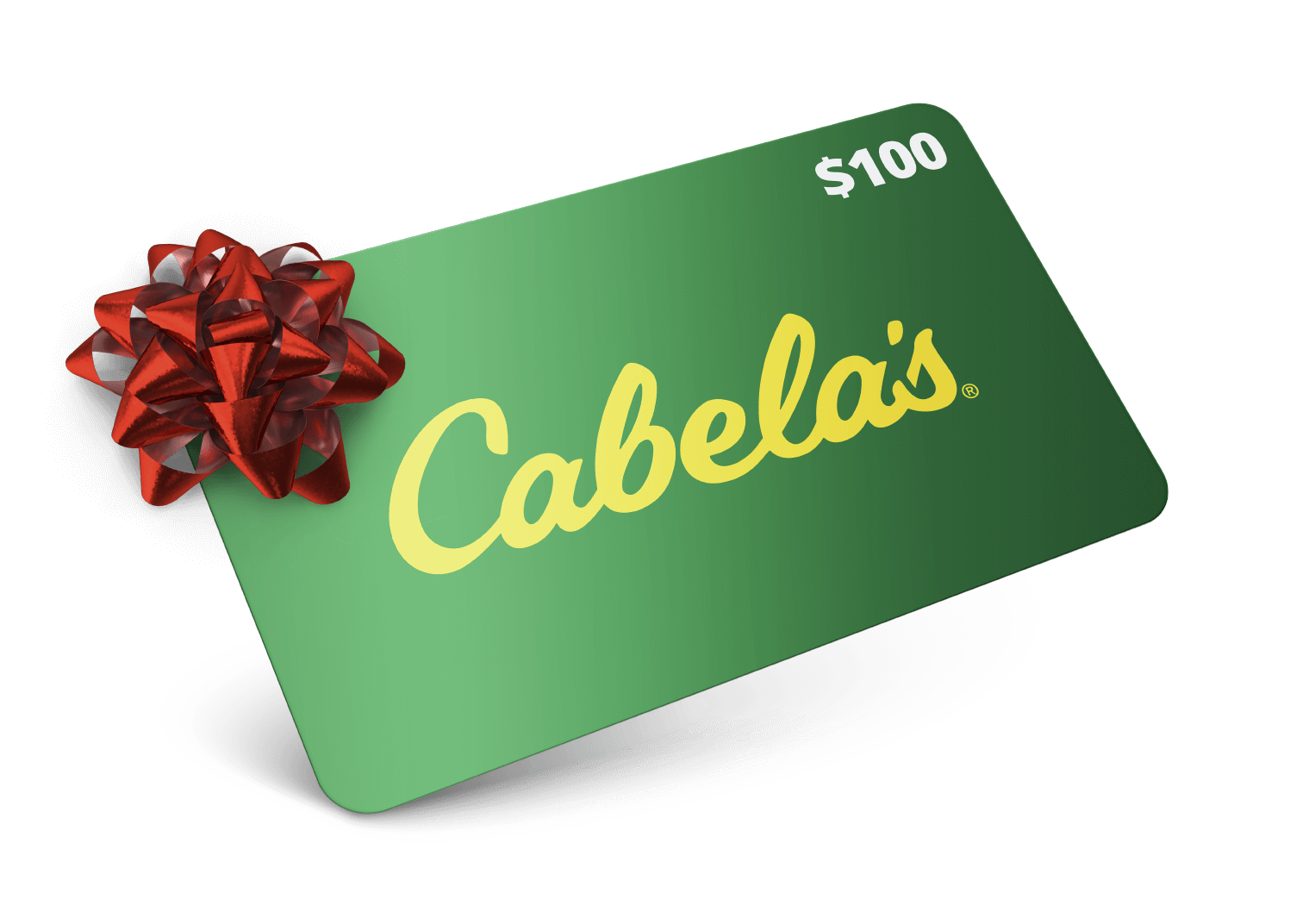 Image of gift card with name cabelas on it.