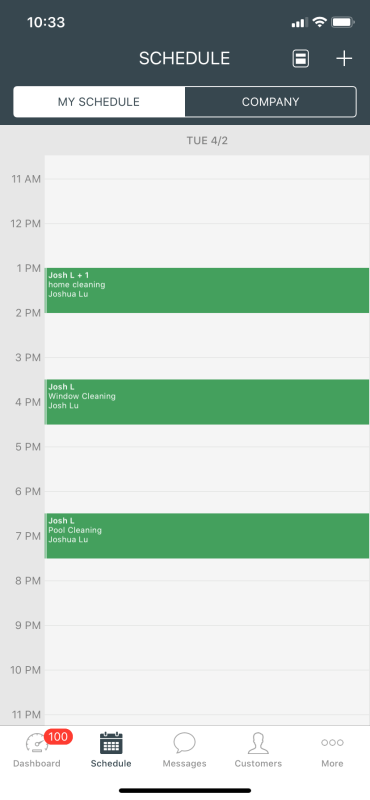 Mobile app schedule view on Housecall Pro