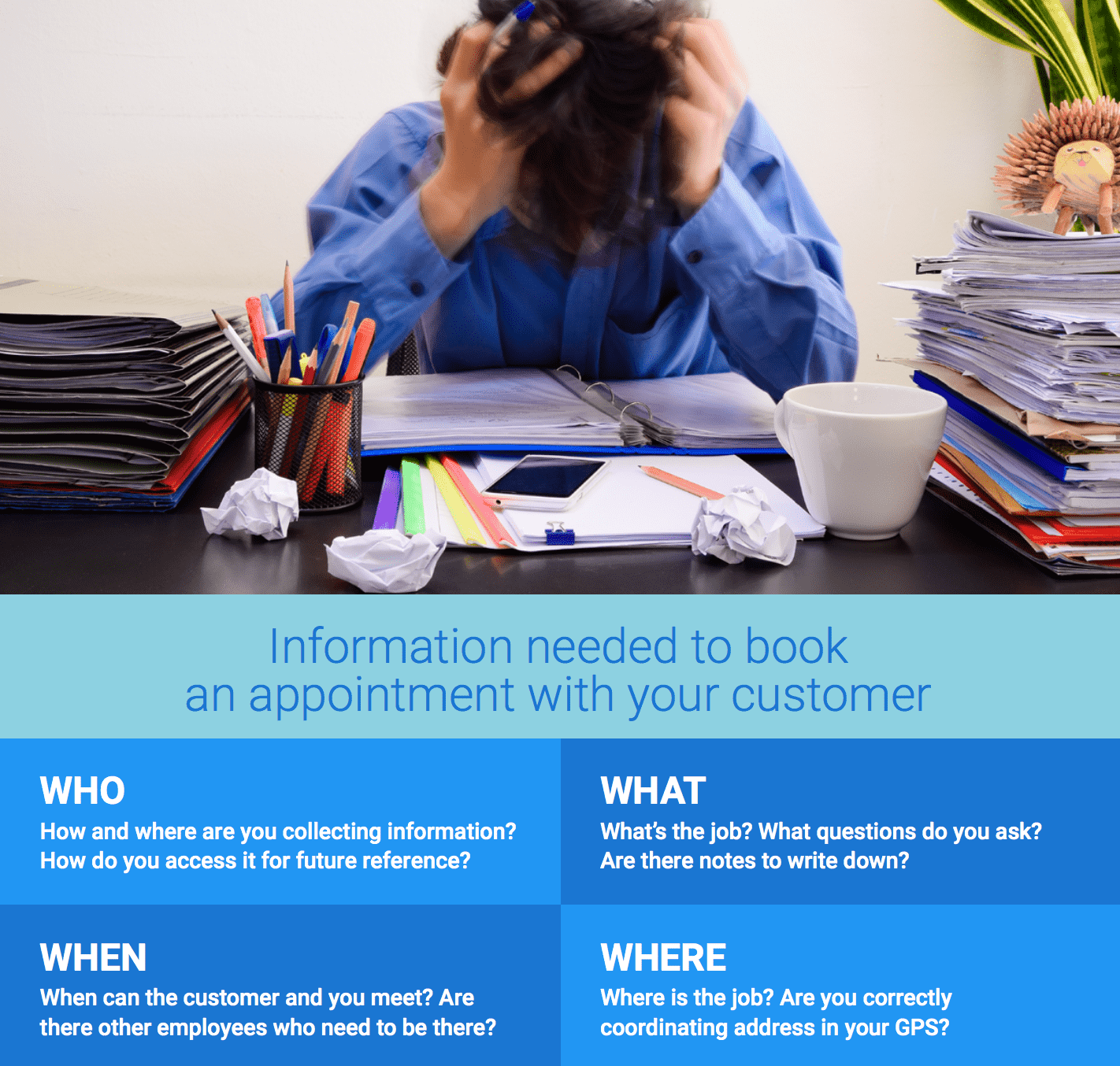Information needed to book an appointment with your customer