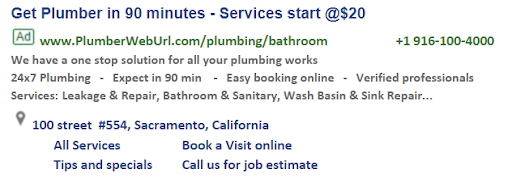 plumbing google search ad example