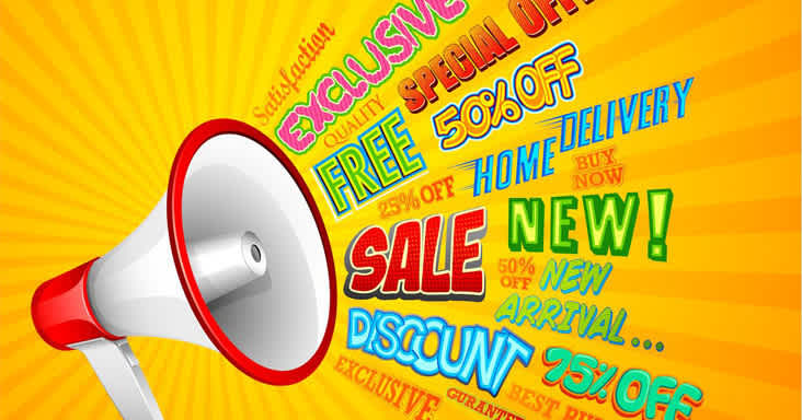Sale megaphone with yellow backgroun