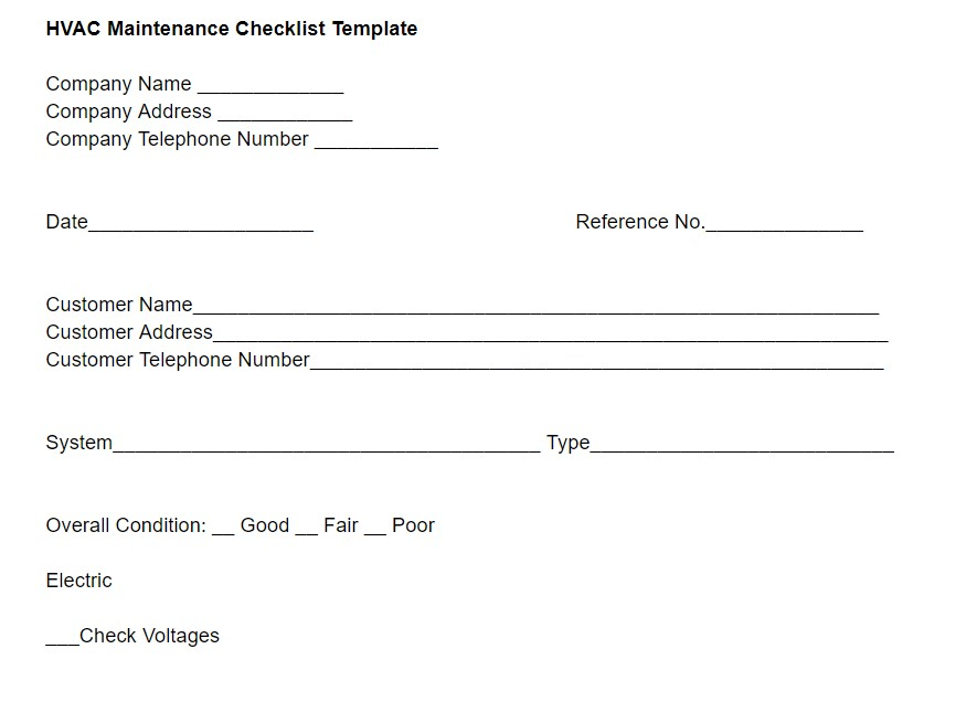 HVAC Maintenance Checklist Template
