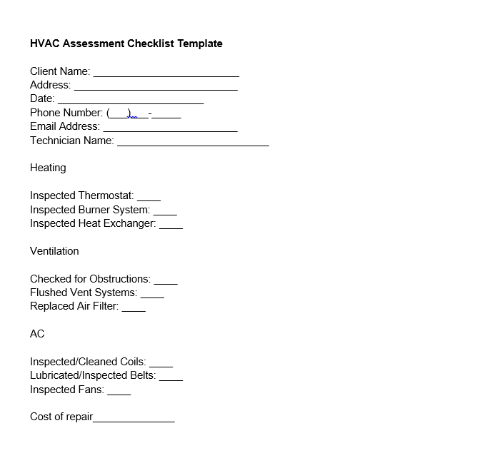 hvac assessment checklist