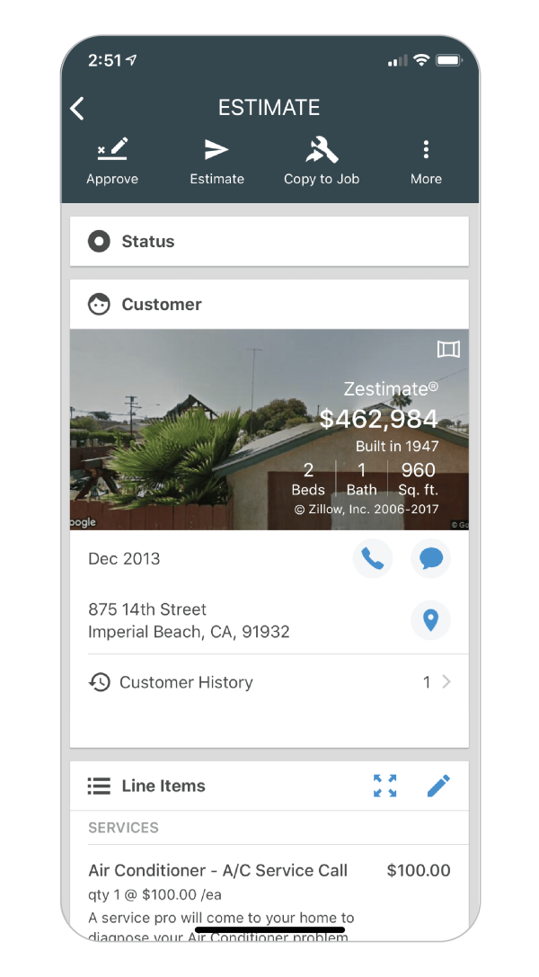 Create customizable estimates on Housecall Pro