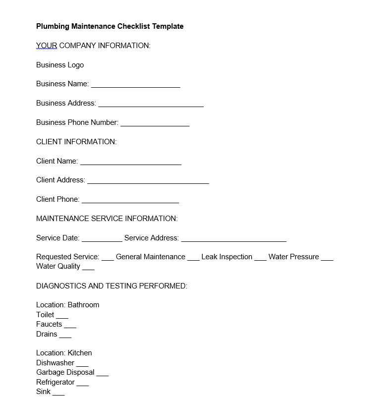 plumbing maintenance checklist template