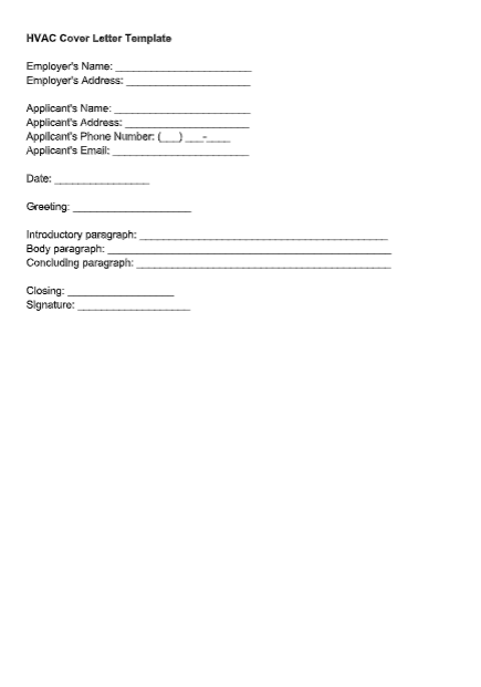 HVAC Cover Letter Template