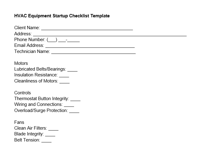 HVAC equipment startup checklist