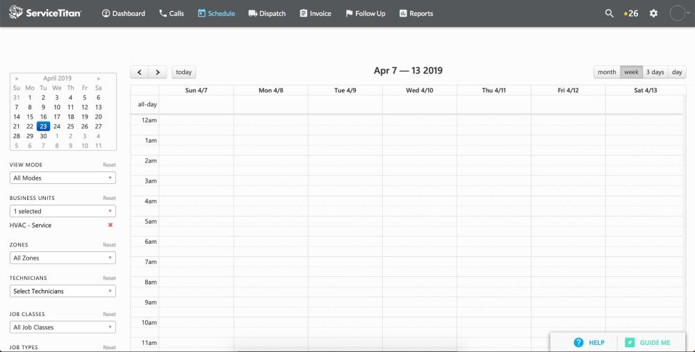 Schedule view on Servicetitan