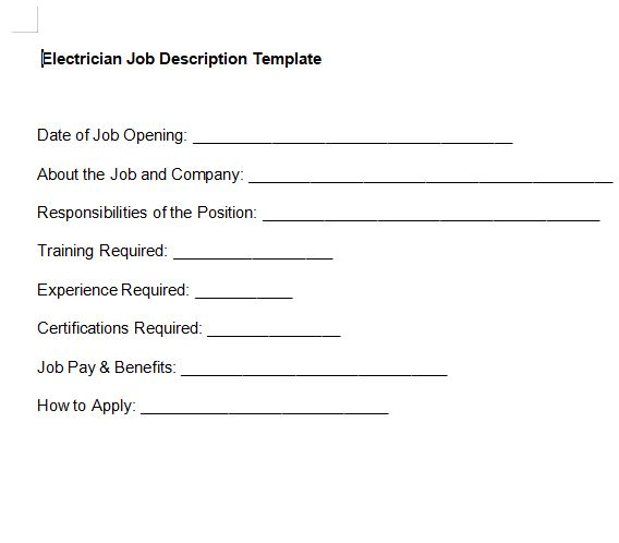 Electrician Job Description Template