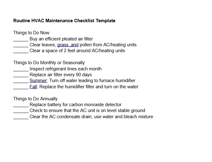 routine hvac maintenance checklist