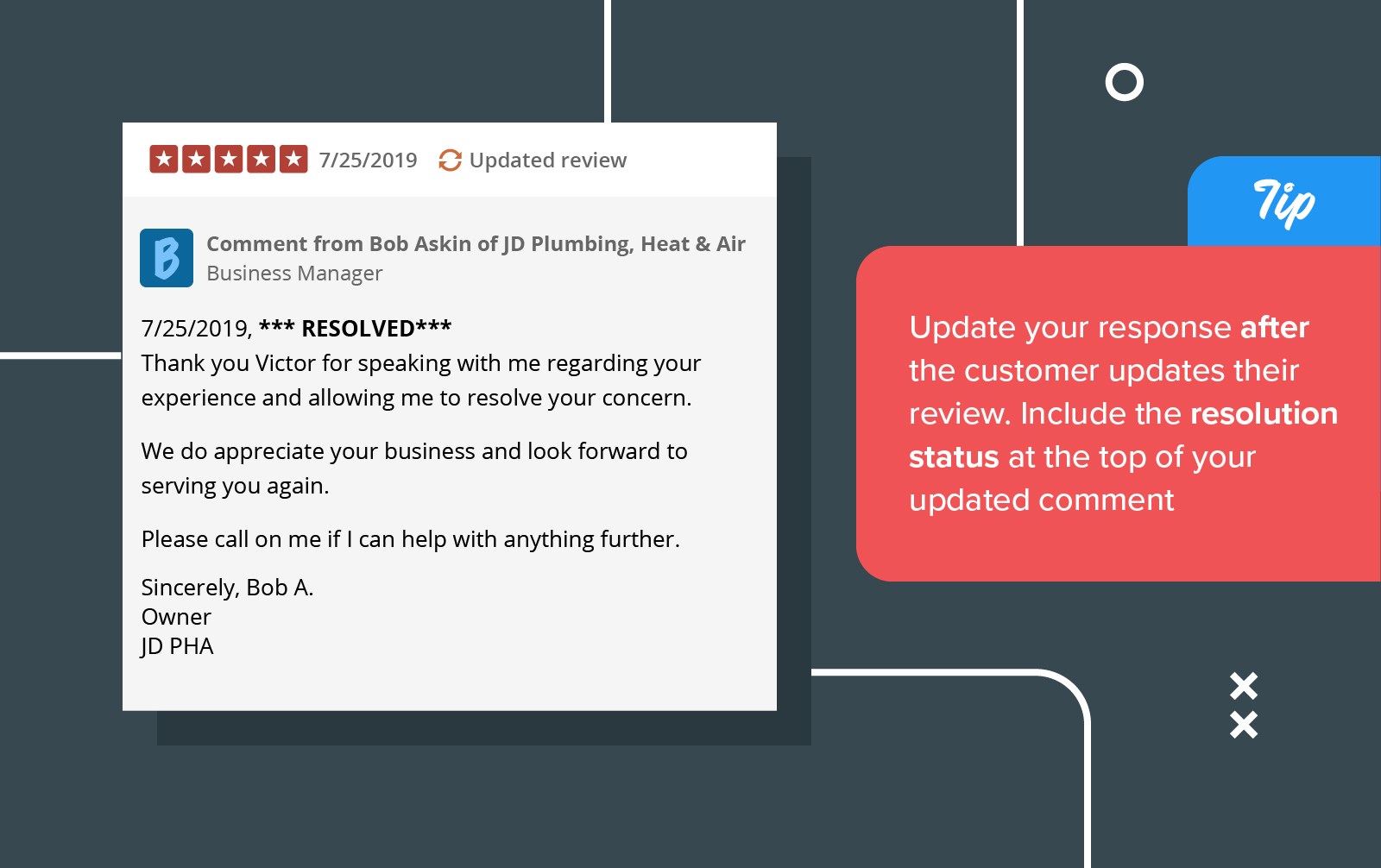 Update negative review response with a resolution status to show prospective customers your attention to service.