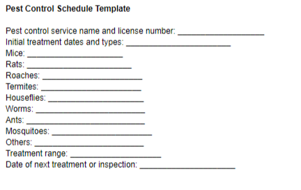 Pest Control Schedule Template