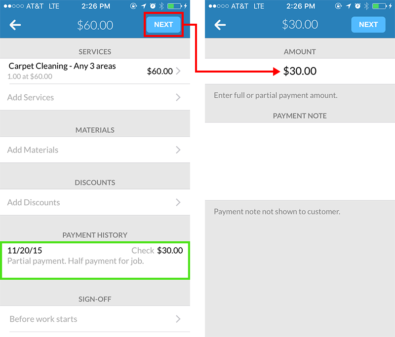 Partial payments & payment history on Housecall Pro