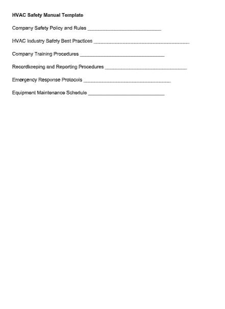 HVAC Safety Manual Template