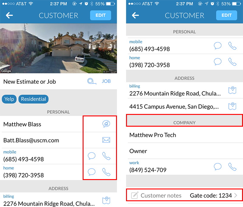 Add or create customer tags, set billing address and create address in Housecall Pro