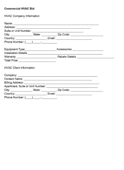 Commercial HVAC Bid Template