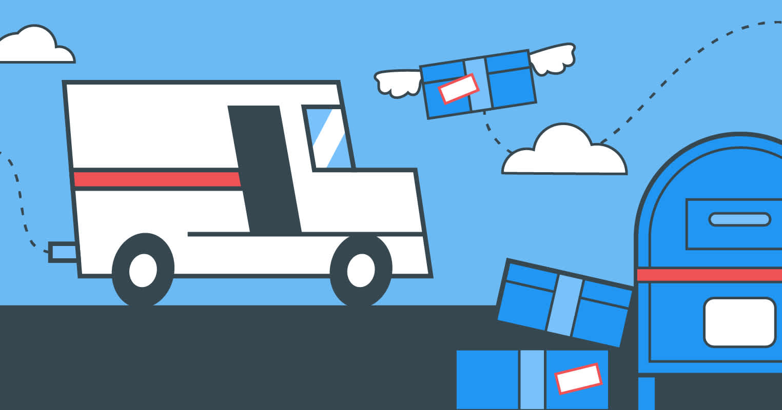 Header image with mail truck and packages metaphorical wings fluttering back as returns.