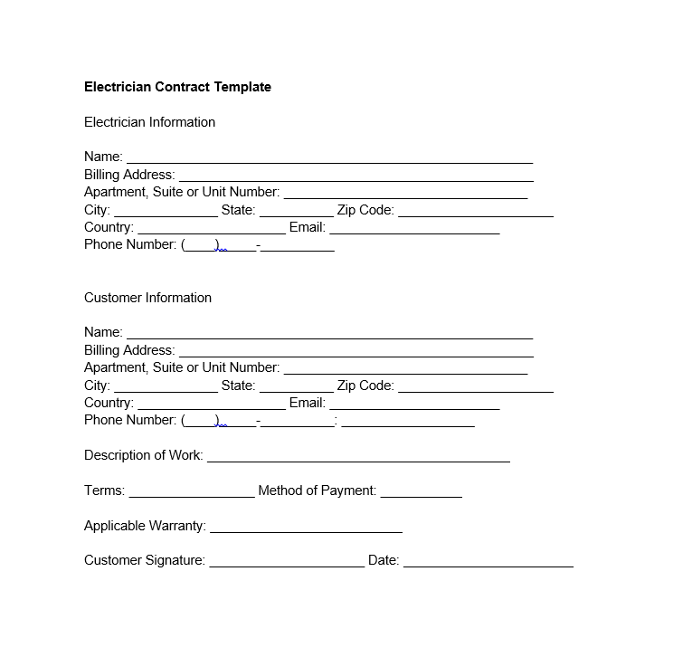 electrician contract template