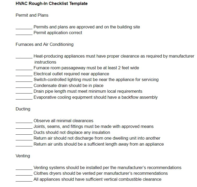HVAC Rough-In Checklist Template