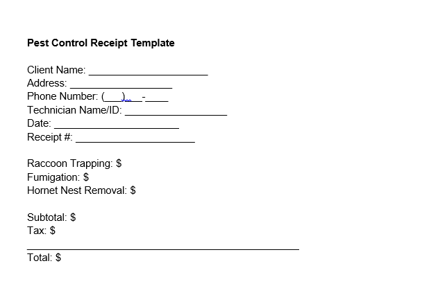pest control receipt template