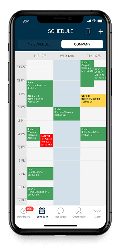Mobile handyman scheduling software on an iphone