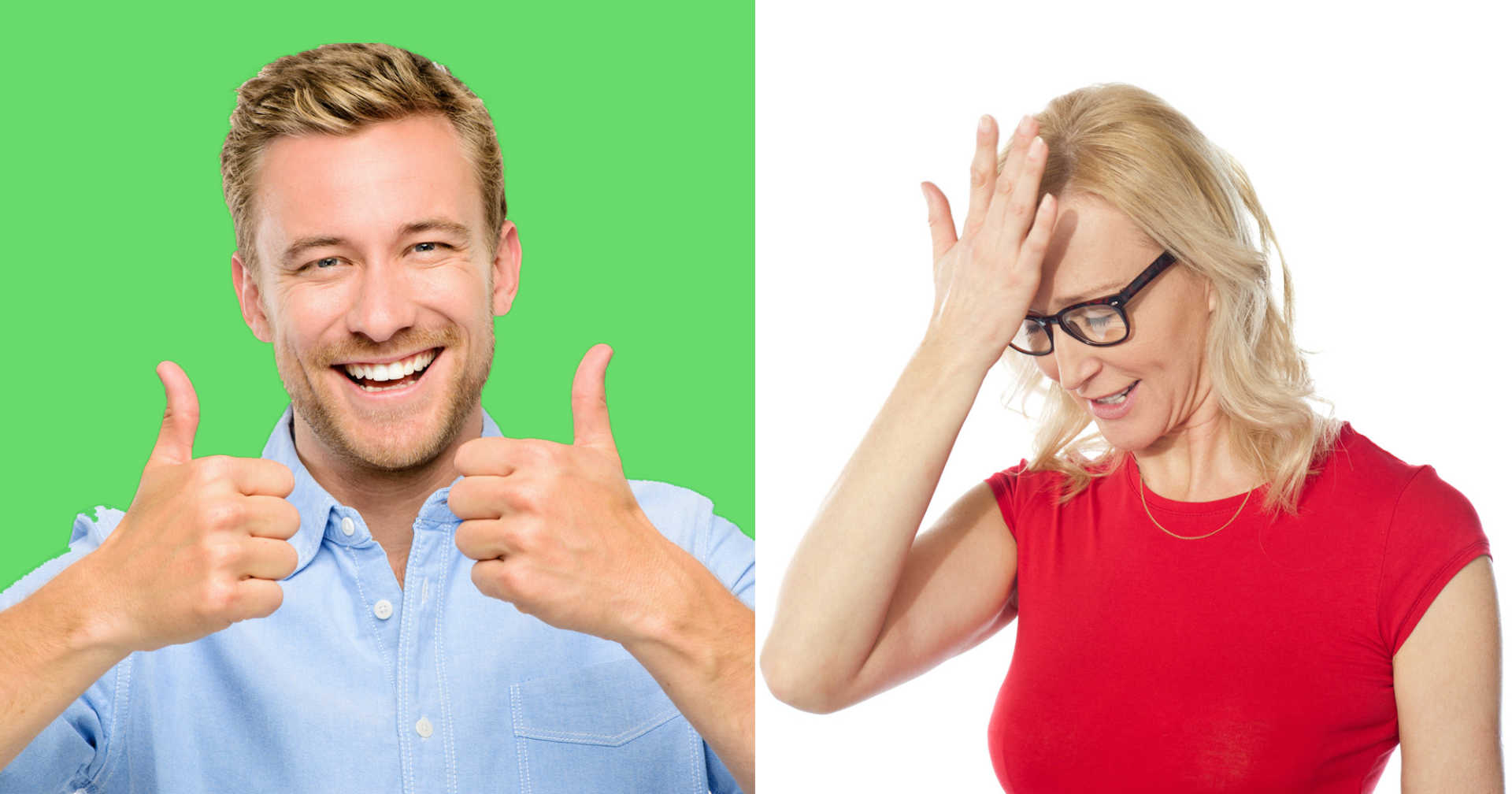 Guy giving thumbs up with a green background and woman with hand on head with white background