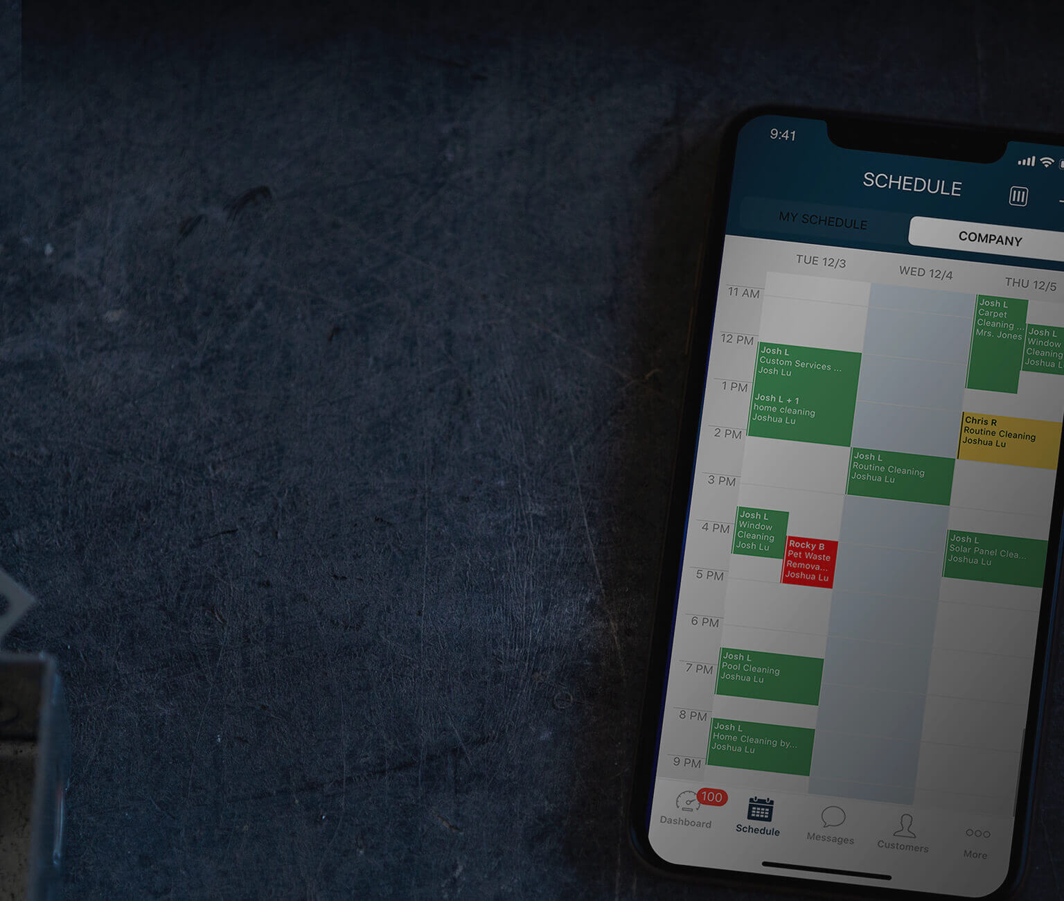 Housecall Pro's scheduling software on an iPhone 11