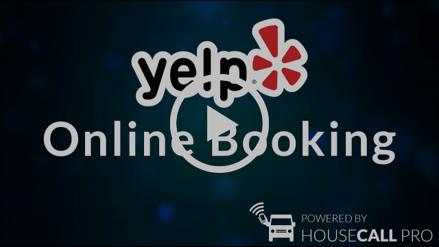 Online booking video placeholder with play button