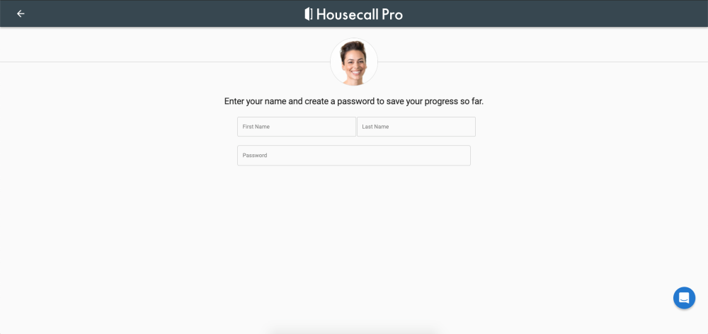 Enter your name and password on Housecall Pro
