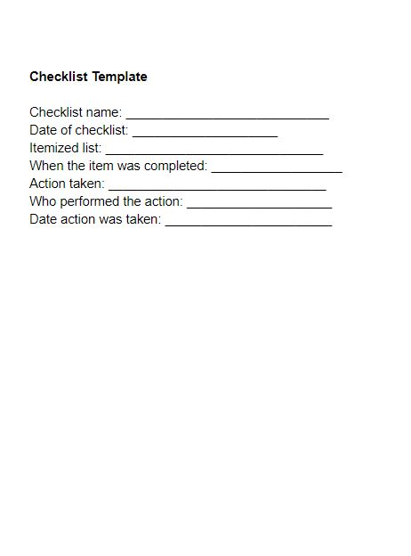 Small Business Checklist Template