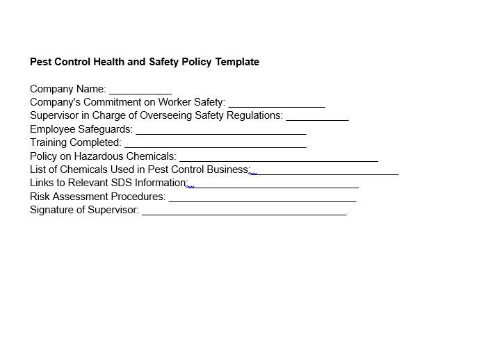 pest control health and safety policy template