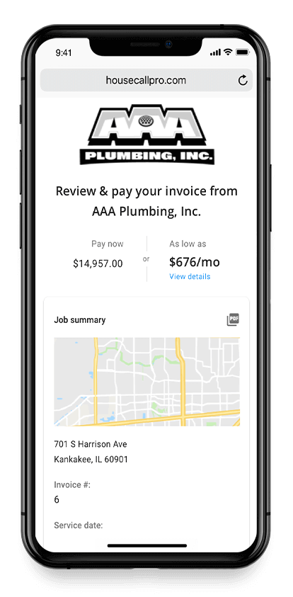Mobile plumbing invoicing software on an iPhone