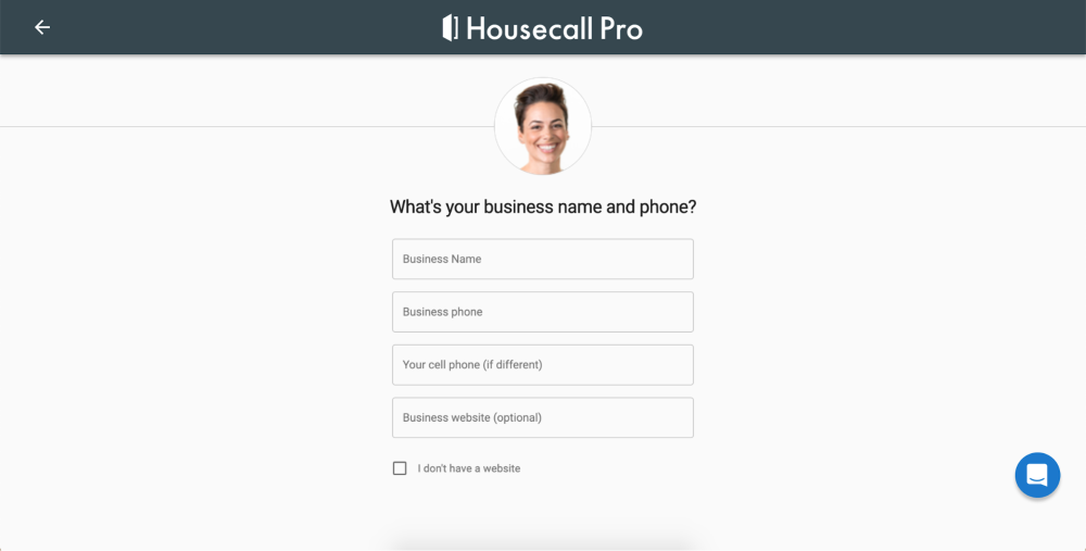 Enter your business name and phone number on Housecall Pro