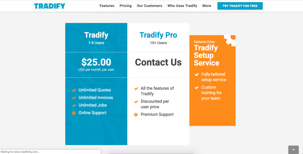 Pricing chart for Tradify