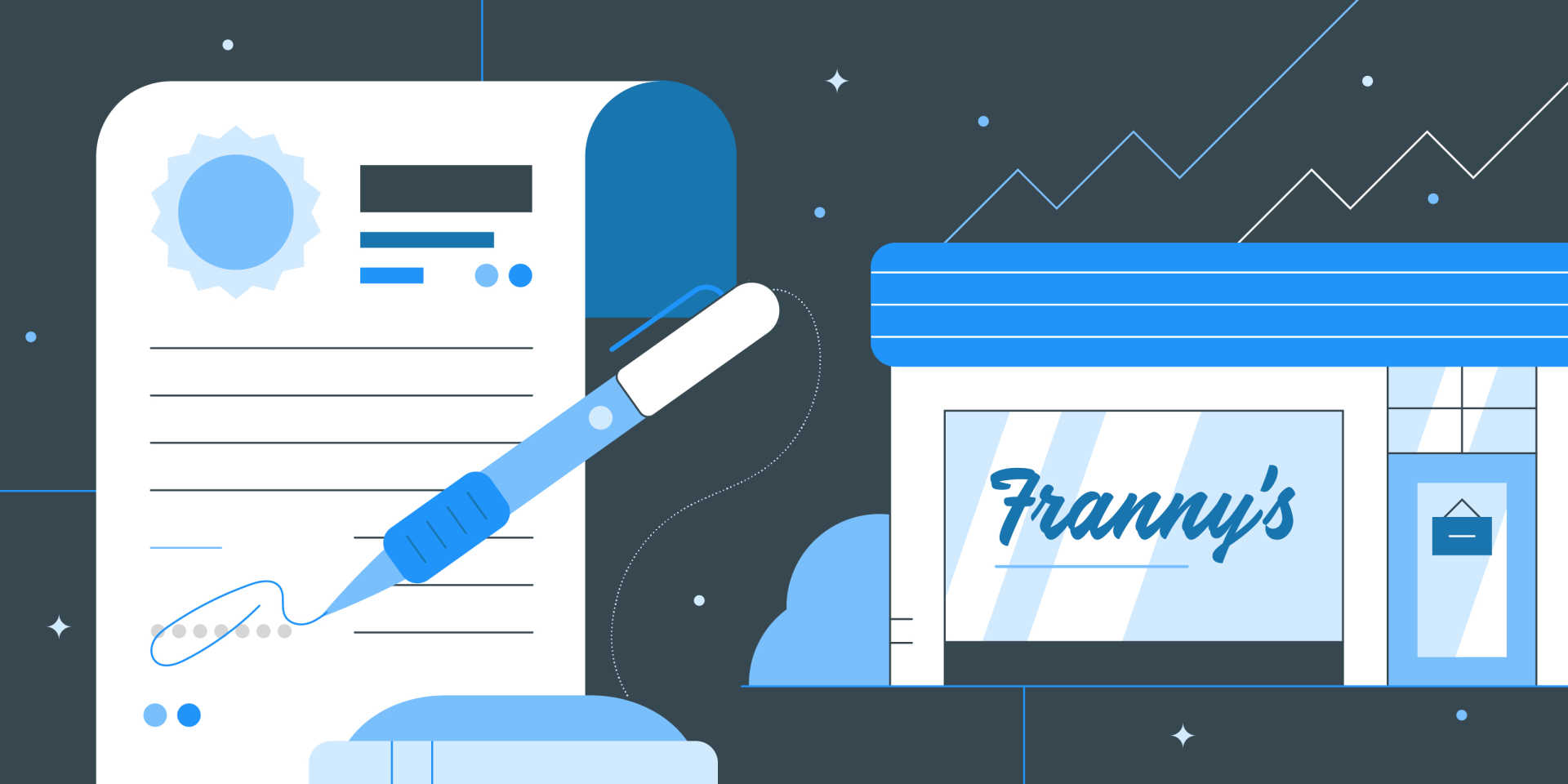 franchising field service businesses header image with contract and storefront illustrations