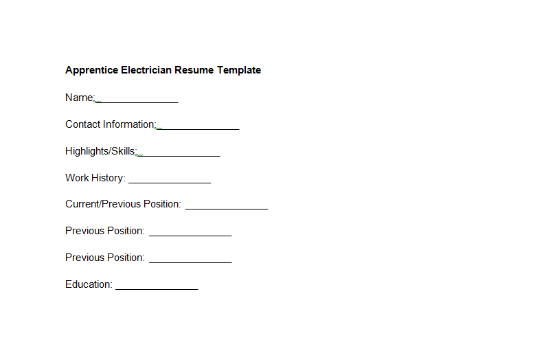 Apprentice Electrician Resume Template