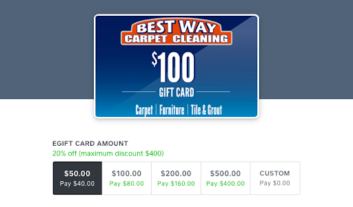Carpet cleaning gift card example